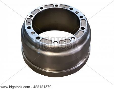 truck and bus brake drum isolated on white background.
