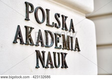 Warsaw, Poland, Nov 15, 2018: Plate Of Polish Academy Of Sciences On The Staszic Palace, The Headqua