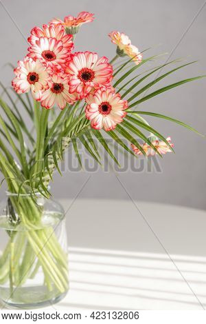 Bouquet Of Pink Gerberas In A Glass Vase On A White Table. Flowers In The Interior And As A Gift For