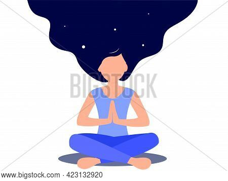 Woman In Blue Clothes Doing Yoga Practice Vector. Lotus Pose. Long Hair Like Cosmos. Flat Illustrati