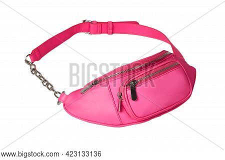 Fashionable Bright Hip Bag In Pink Color. White Background. A Fashion Accessory.