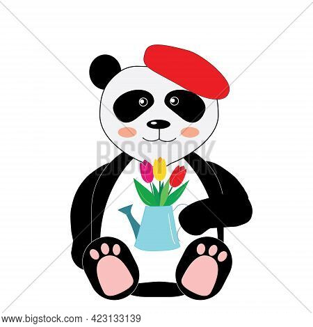Illustration Of A Panda In A Red Beret Holding A Bouquet Of Tulips In A Watering Can