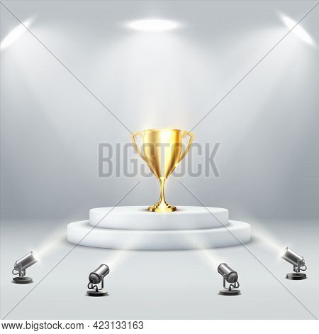 Golden Podium Cup On Light Background. Sport Trophy. Victory Concept. Winner Award.