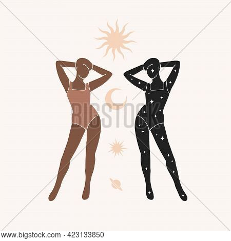 Silhouette Of Two Women With Sun And Moon. Modern Minimalist Mystical Astrology Aesthetic Illustrati