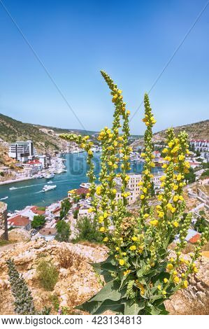 Stunning View Of Balaklava Bay With Yachts From The Genoese Fortress Chembalo In Sevastopol City. Bl