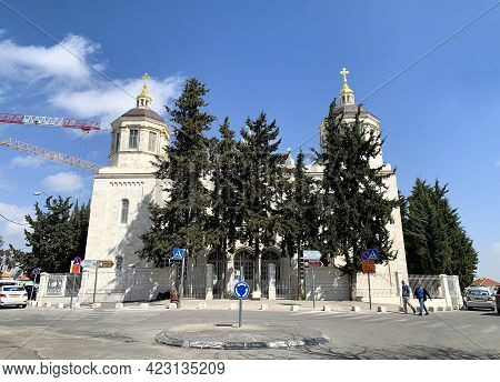 Jerusalem, Israel - March 08, 2021: Cathedral Of The Life-giving Trinity At The Russian Compound In
