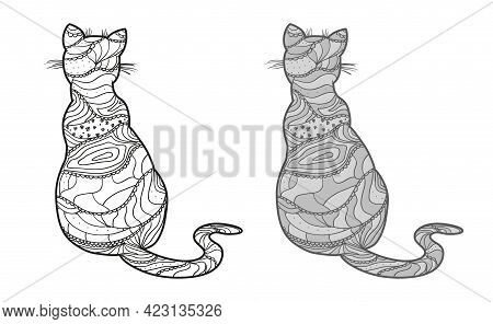 Cat. Hand Drawn Animal With Abstract Patterns On Isolated Background. Design For Spiritual Relaxatio