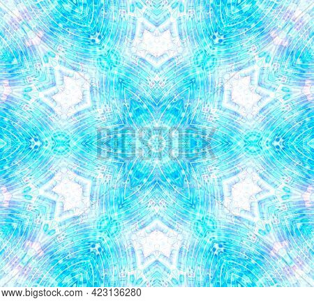 Bright Blue Background With Abstract Water Ripples And Bubbles Pattern