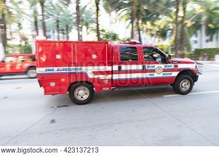 Miami Beach, Florida Usa - April 15, 2021: Ford Fire Rescue Truck Emergency In Miami Beach Side View