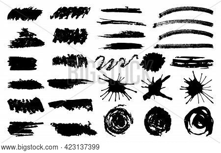 Set Black Brush Stroke. Brush, Ink, Paints. Hand Drawn Vector. Round, Square, Spiral Strokes. Vintag