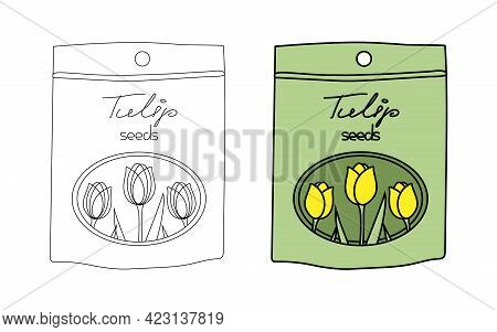 Small Paper Bag With Tulip Flower Seeds In A Flat Graphic Outline Style. Linear And Color Illustrati