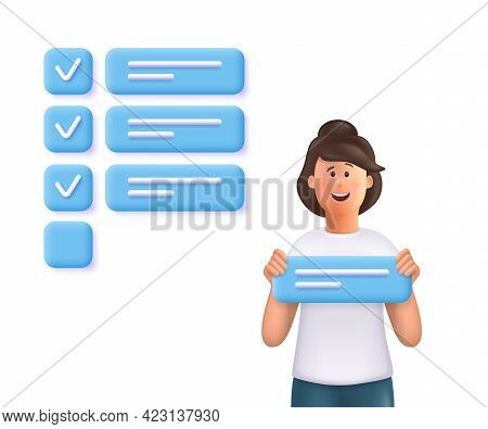 Young Woman Jane Holding A Task Sign, Standing Nearby A Giant Marked Checklist. Concept Of Task Comp