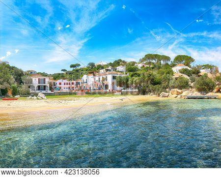 Fantastic View Of  Beach On Porto Rafael Resort. Picturesque Seascape Of Mediterranean Sea. Location