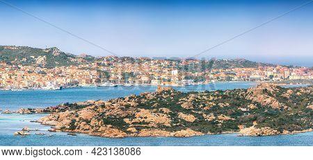 Fabulous View On  Santo Stefano And La Maddalena Islands From Palau. Location: Palau, Province Of Ol