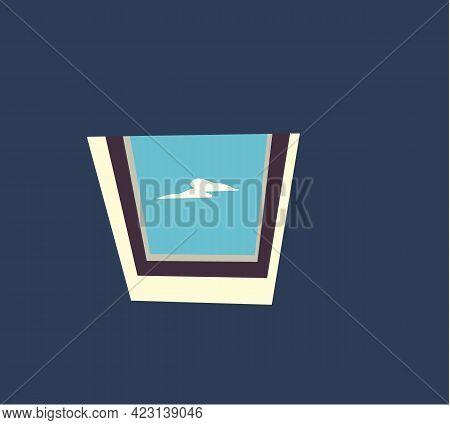 Blue Cloudy Sky Through Modern Square Ceiling Window. Modern Retro Design In A Attic. Roof Or Ceilin