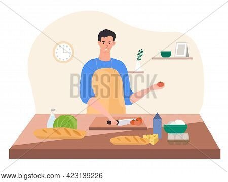 Happy Male Character Is Cooking A Dish In The Kitchen Wearing Apron. Smiling Young Man Cooking Sandw