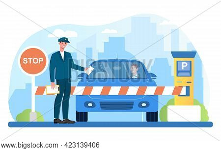 Male Attendant Standing At Gate Arm With Stop Sign Checking Vehicles. Concept Of Parking Lot Securit