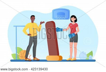 Male Smiling Trainer Is Holding Boxing Bag For Woman. Concept Of Kickboxing, Gym, Athlete. Young Wom