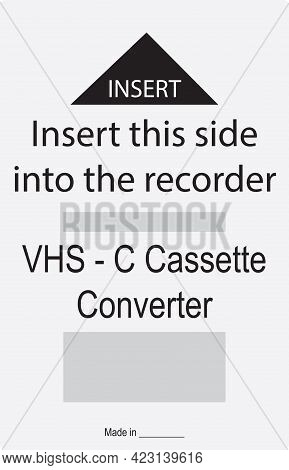 Shortcut For Vhs-c To Vhs Cassette Adapter. Vector Illustration