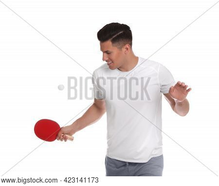 Handsome Man With Table Tennis Racket And Ball On White Background. Ping Pong Player