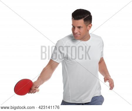 Handsome Man With Table Tennis Racket On White Background. Ping Pong Player