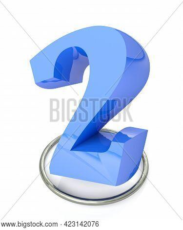 Number 2 Blue Over Metallic Circle On White Background - 3d Rendering Illustration