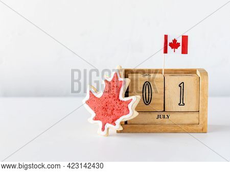 A Wooden Date Block With July First As The Date Representing Canada Day With A Canada Flag Sugar Coo