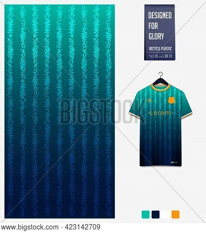 Soccer Jersey Pattern Design. Geometric Pattern On Green Abstract Background For Soccer Kit, Footbal