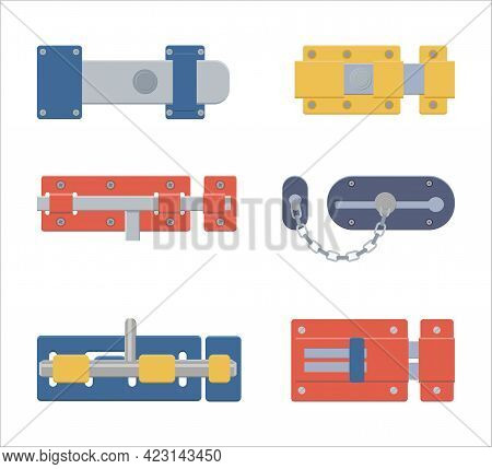 Set Of Door Latches, Gate Latch, Sliding Lock With Dead Bolt In Flat Style.