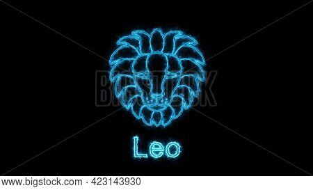 The Leo Zodiac Symbol, Horoscope Sign Lighting Effect Blue Neon Glow. Royalty High-quality Free Stoc