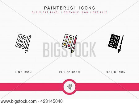 Paintbrush Icons Set Vector Illustration With Solid Icon Line Style. Color Palette Design Concept. E