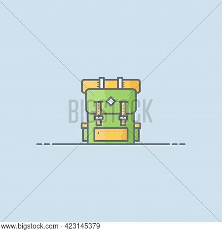 Hiking Backpack Vector Icon Illustration. Backpack Vector