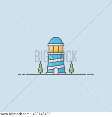 Lighthouse Vector Icon Illustration. Lighthouse Flat Design