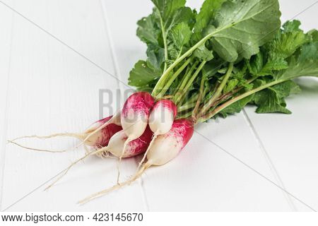 Five Fresh Radishes On A White Wooden Table. A Fresh Crop Of Radishes.