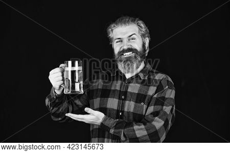 Alcohol Beverage. Modern Hipster Getting Drunk. Everything You Always Wanted In Beer. Man Hold Mug O