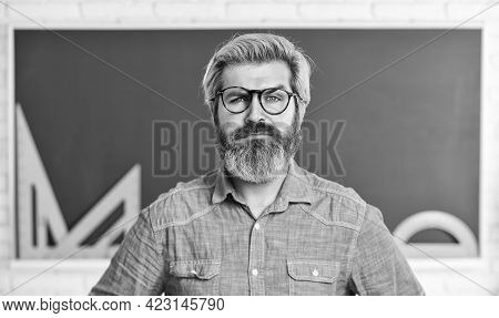 Knowledge Concept. Formal Sciences. Mature Teacher In Glasses. Back To School. Man Engineering Graph