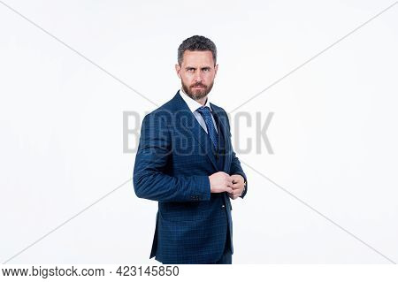 Handsome Confident Businessman In Formalwear Isolated On White, Management