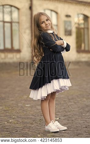 Developing Sense Of Style. Small Kid Wear Uniform Outdoors. Back To School Style. Dress Up Look. Dre