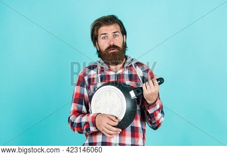 Funny Cooking. Man Holding Frying Pan.. Male Chef Kitchener Cooking. Hipster Checkered Shirt For Bea