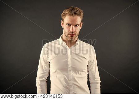 Handsome Young Man Wear Classy White Shirt Grey Background, Fashion