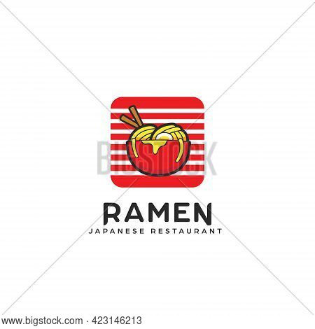 Ramen Bowl Logo, Noodle Pasta In Bowl Logo Icon Illustration