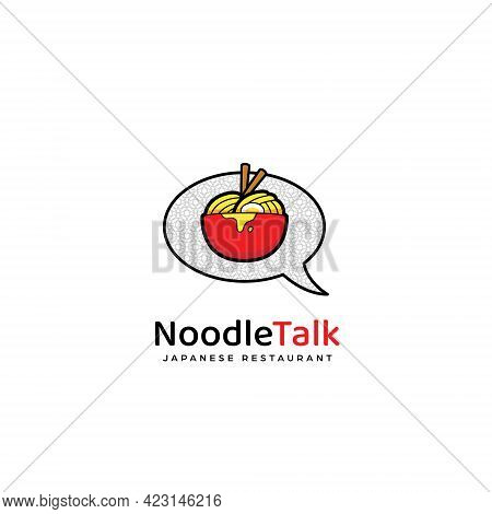 Ramen Noodle Talk Logo Icon, Noodle In Red Bowl And Bubble Talk Logo Icon Illustration