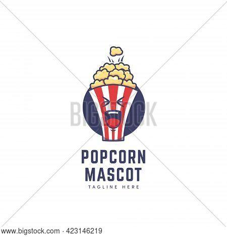 Popcorn Box Mascot Character Logo In Cartoon Icon Illustration Style