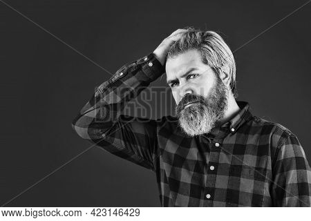 Brutal Caucasian Hipster With Moustache. Male Barber Care. Bearded Man Dyed Blonde Hair. Hair And Be