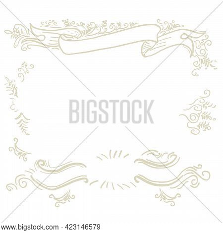 Hand Drawn Border And Frame Graphic. Frame Design Decoration Pattern Style.