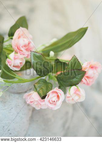 Pink Rose Flower Beautiful Bouquet Artificial Handmade Background