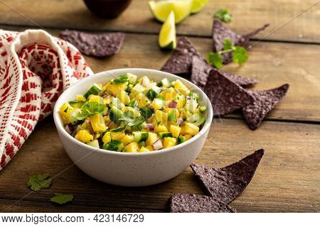 Pineapple And Cucumber Salsa With Jalapeno And Red Onion