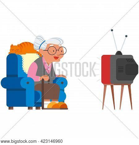 Old Woman Watch Tv Vector Elderly Grandma Enjoy Movie