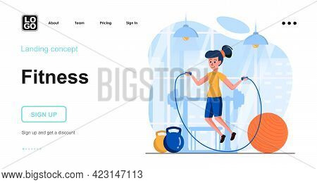 Fitness Web Concept. Woman Is Jumping Rope In Gym. Sport Exercising, Cardio Workout, Training. Templ
