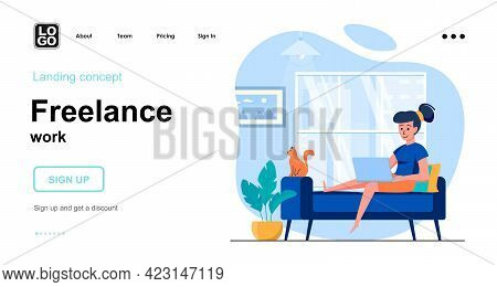 Freelance Work Web Concept. Woman Freelancer Or Remote Worker Works On Laptop Sitting Sofa At Home.